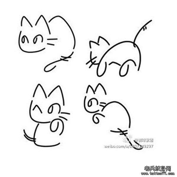 线条猫咪纹身手稿图案由武汉纹身馆推荐图片