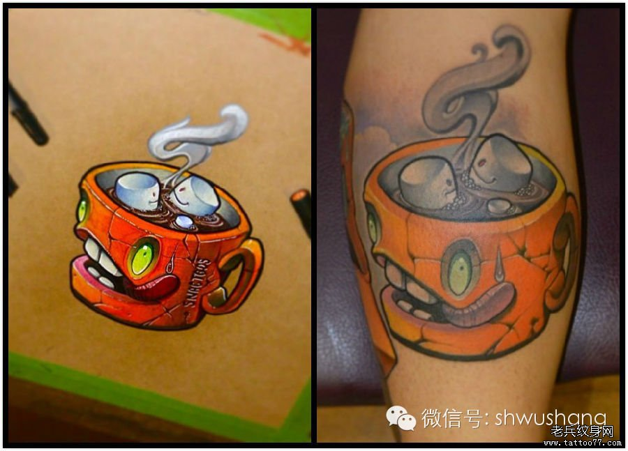 一组另类的彩色卡通冰淇淋纹身图案由武汉纹身推荐