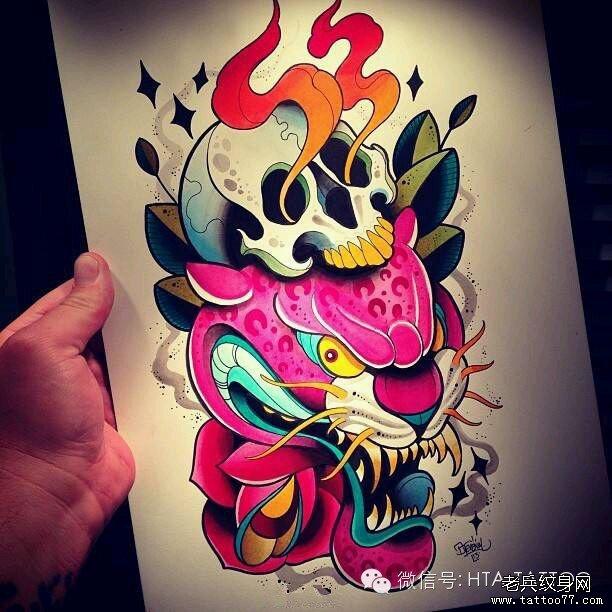 一组彩色new school纹身图案由武汉纹身提供图片