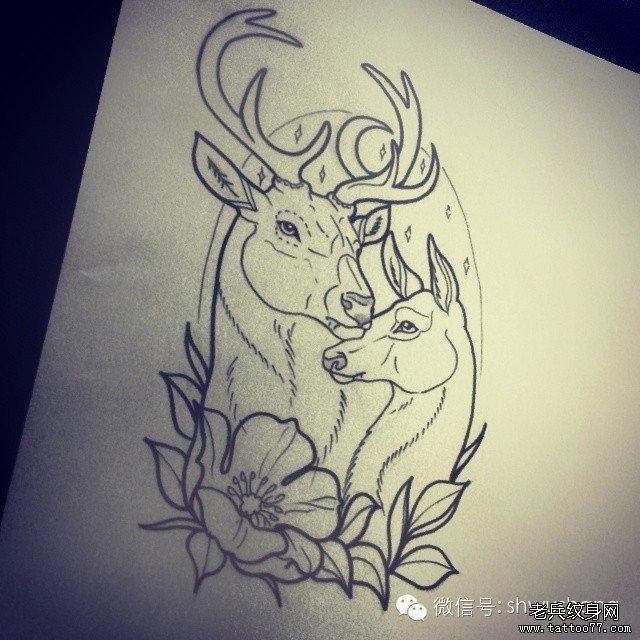 武汉纹身店推荐一组彩色鹿纹身图案大全