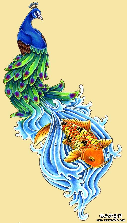 彩色孔雀纹身图案