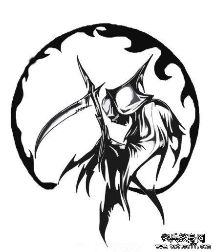 武汉最好的纹身店提供一组霸气的死神纹身手稿图案