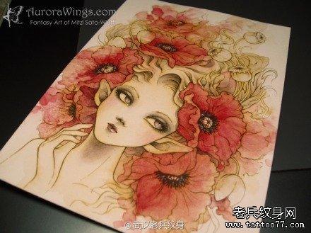美丽异常的罂粟花纹身图案由武汉纹身馆推荐