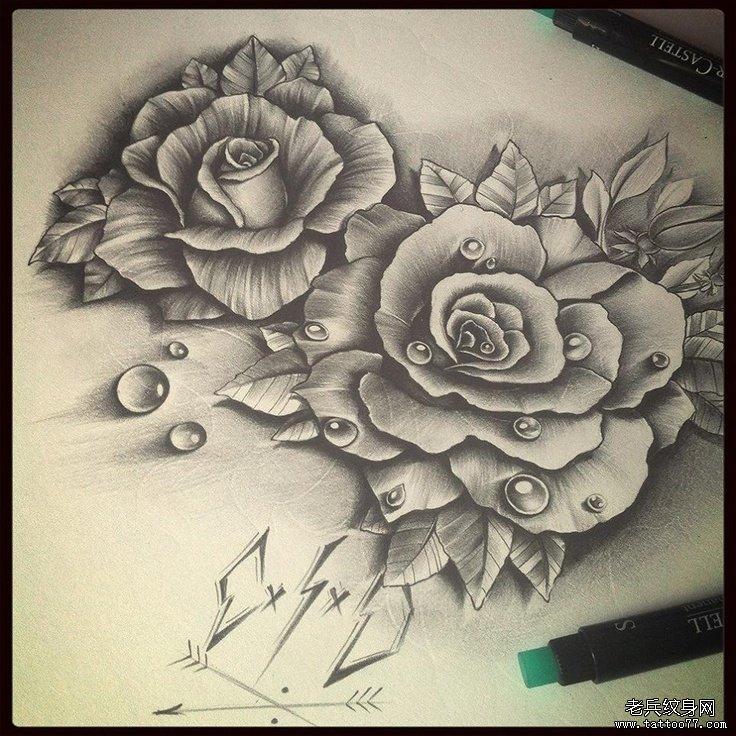 一组玫瑰花纹身手稿图案由武汉最好的纹身店推荐