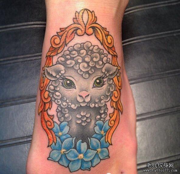 一组tattoo十二生肖の羊纹身图案由武汉纹身提供