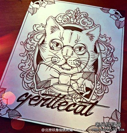 卡通猫咪纹身手稿图案由武汉纹身店推荐