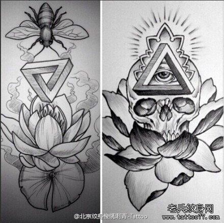 上帝之眼骷髅莲花纹身手稿图案由武汉纹身提供
