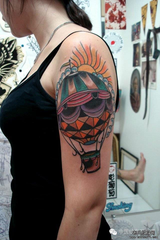 武汉最好的纹身馆推荐一组放飞梦想自由翱翔热气球纹身图案