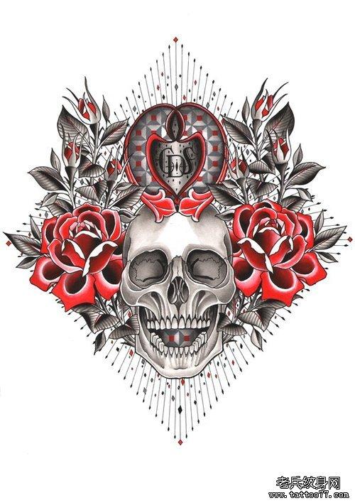 武汉最好的纹身店推荐一款骷髅玫瑰纹身图案图片