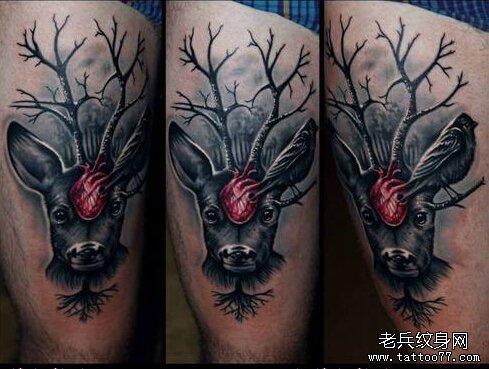 武汉最好的纹身店推荐一款腿部鹿头纹身图案图片