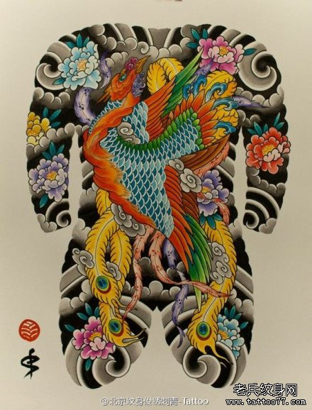 传统满背纹身手稿图案