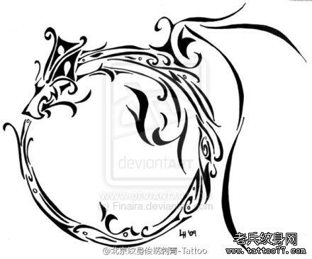 武汉最好的纹身店推荐一组图腾龙纹身图案