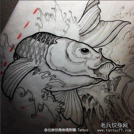 武汉纹身店推荐一款鲤鱼纹身手稿图案