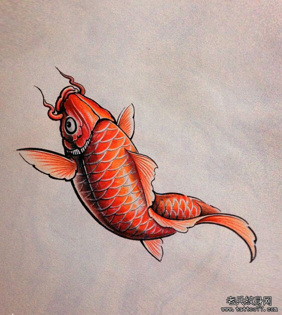 武汉纹身馆推荐一款鲤鱼纹身手稿图案