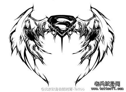 翅膀超人标志纹身图案