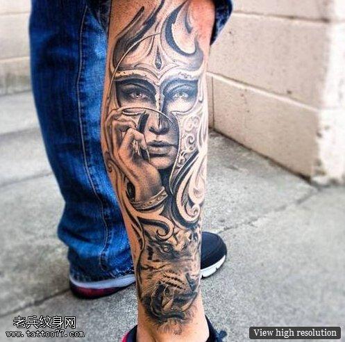 武汉最好的纹身店推荐一款腿部老虎赵云纹身图案