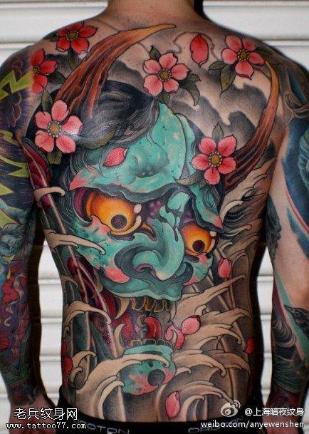 满背大气的般若纹身图案