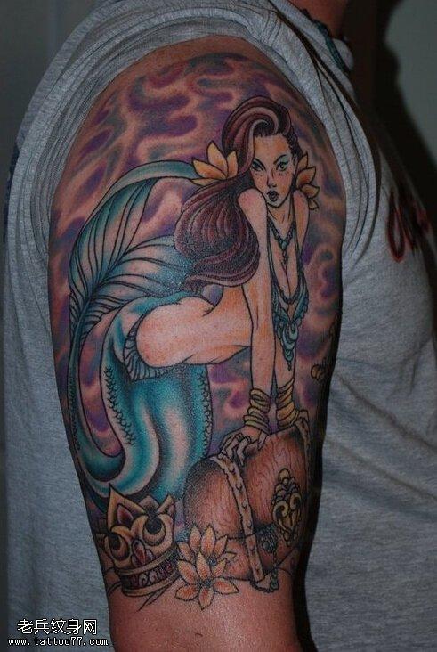 武汉最好的刺青店推荐一款大臂美人鱼纹身图案图片