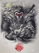 武汉最好的纹身店提供一款齐天大圣孙悟空纹身手稿图案图片