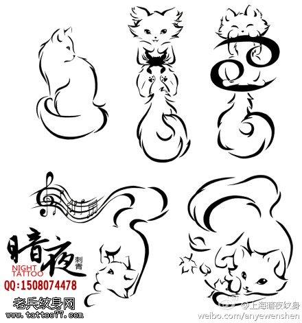 一款猫咪纹身手稿图案由武汉最好的纹身馆提供