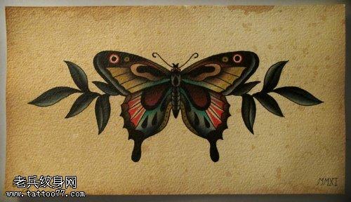 一款蝴蝶纹身手稿图案由武汉最好的刺青店提供