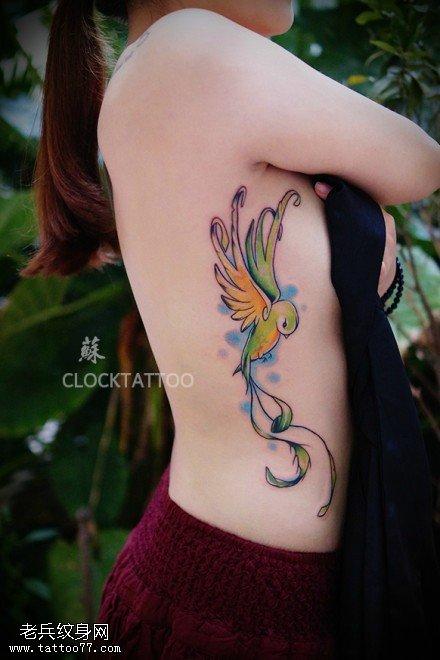 女性侧腰彩色蜂鸟纹身图片