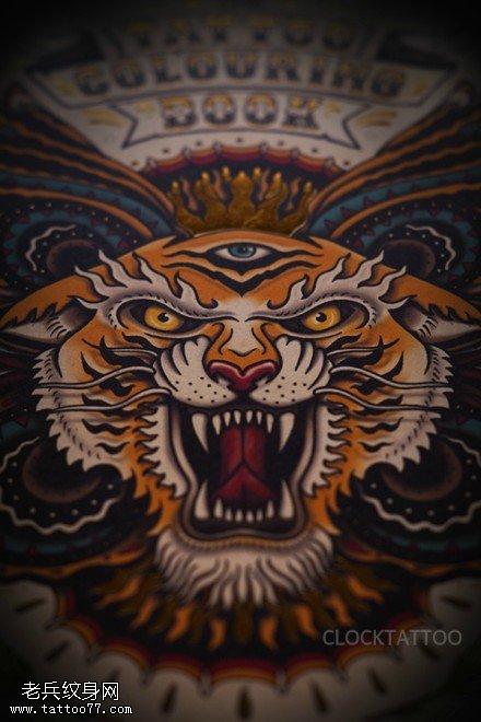 彩色老虎头眼睛蝴蝶纹身手稿图片