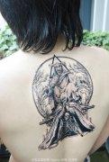 背部彩色欧美风格school风格红桃皇后纹身图片