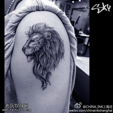 武汉最好的纹身店推荐一款手臂狮子头纹身图案