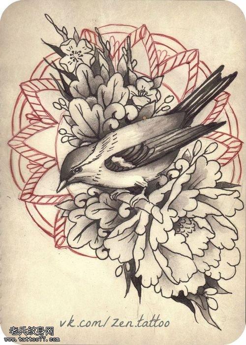 梵花鸟牡丹花纹身手稿图案由纹身店提供