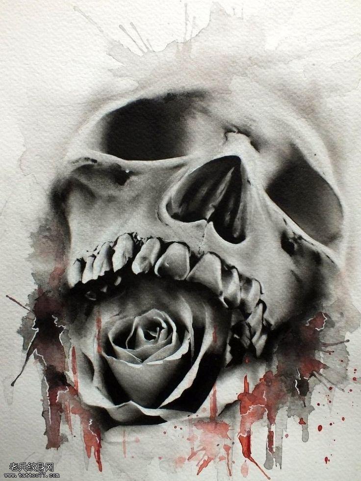 欧美骷髅玫瑰花纹身手稿图案由武汉纹身提供