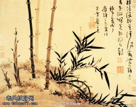 武汉最好的纹身店推荐一组竹子纹身手稿图案