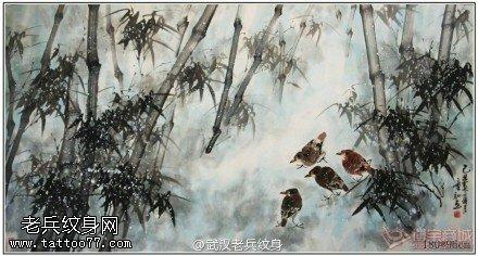 水墨竹子纹身