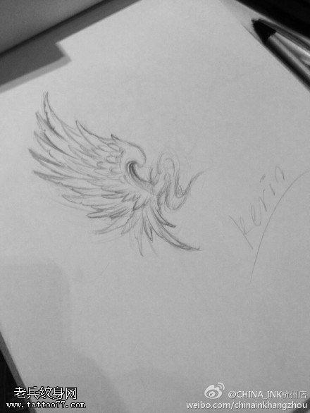 武汉纹身店推荐一款翅膀纹身线条手稿图案