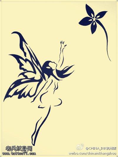 武汉最好的刺青店提供一组天使精灵纹身手稿图案大全图片