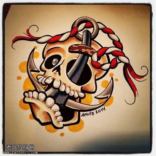 武汉纹身店推荐一款骷髅船锚纹身手稿图案图片
