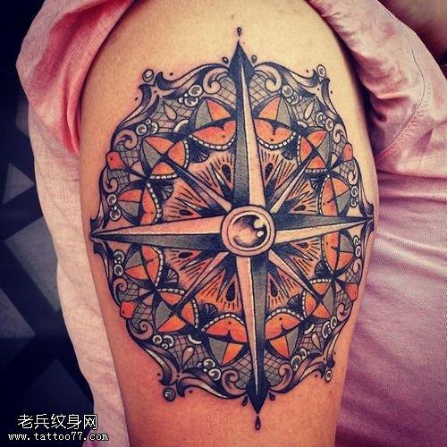 请联系本站 查看更多女性手臂彩色 梵花 指南针纹身图案 请登陆武汉专图片