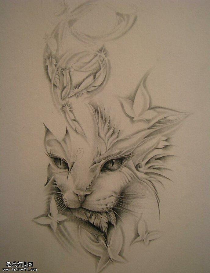 武汉最好的纹身店推荐一款黑灰猫咪纹身手稿图案