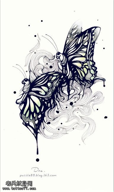 武汉最好的纹身馆提供一款蝴蝶纹身手稿图案图片