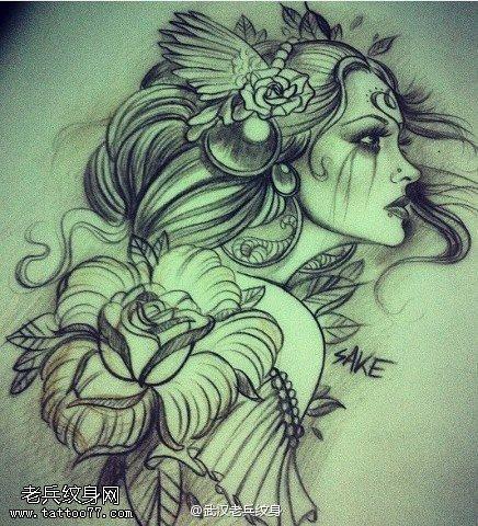 一组黑灰女郎肖像纹身图案由武汉最好的刺青店提供