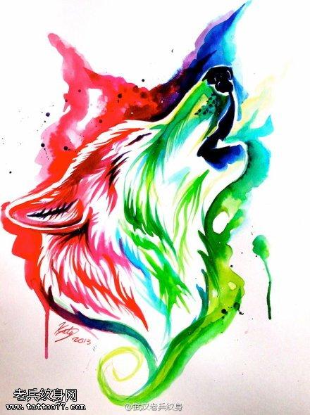 滴血狼头高清手绘图片