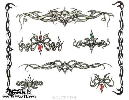 武汉最好的纹身店提供一组图腾臂环纹身手稿图案大全