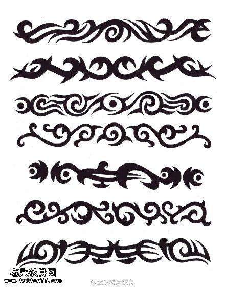 武汉最好的纹身店提供一组图腾臂环纹身手稿图案大全图片