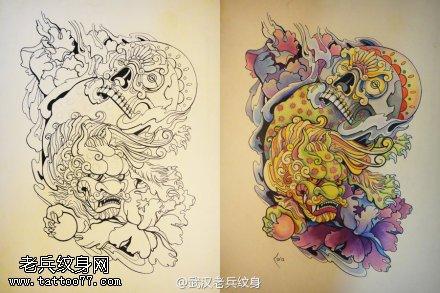 一组彩色欧美传统纹身手稿图案由刺青店提供