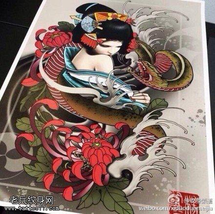 彩色蛇牡丹艺妓纹身手稿图案