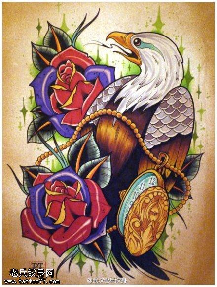 school时钟玫瑰花鸟纹身图案