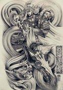 一款黑灰素描满背赵子龙纹身手稿图案