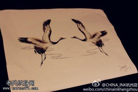 仙鹤纹身手稿图案由武汉纹身提供