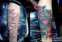 女性泼墨猫咪纹身图案由武汉纹身店提供