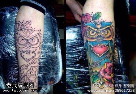 腿部彩色猫头鹰钥匙玫瑰花纹身图案